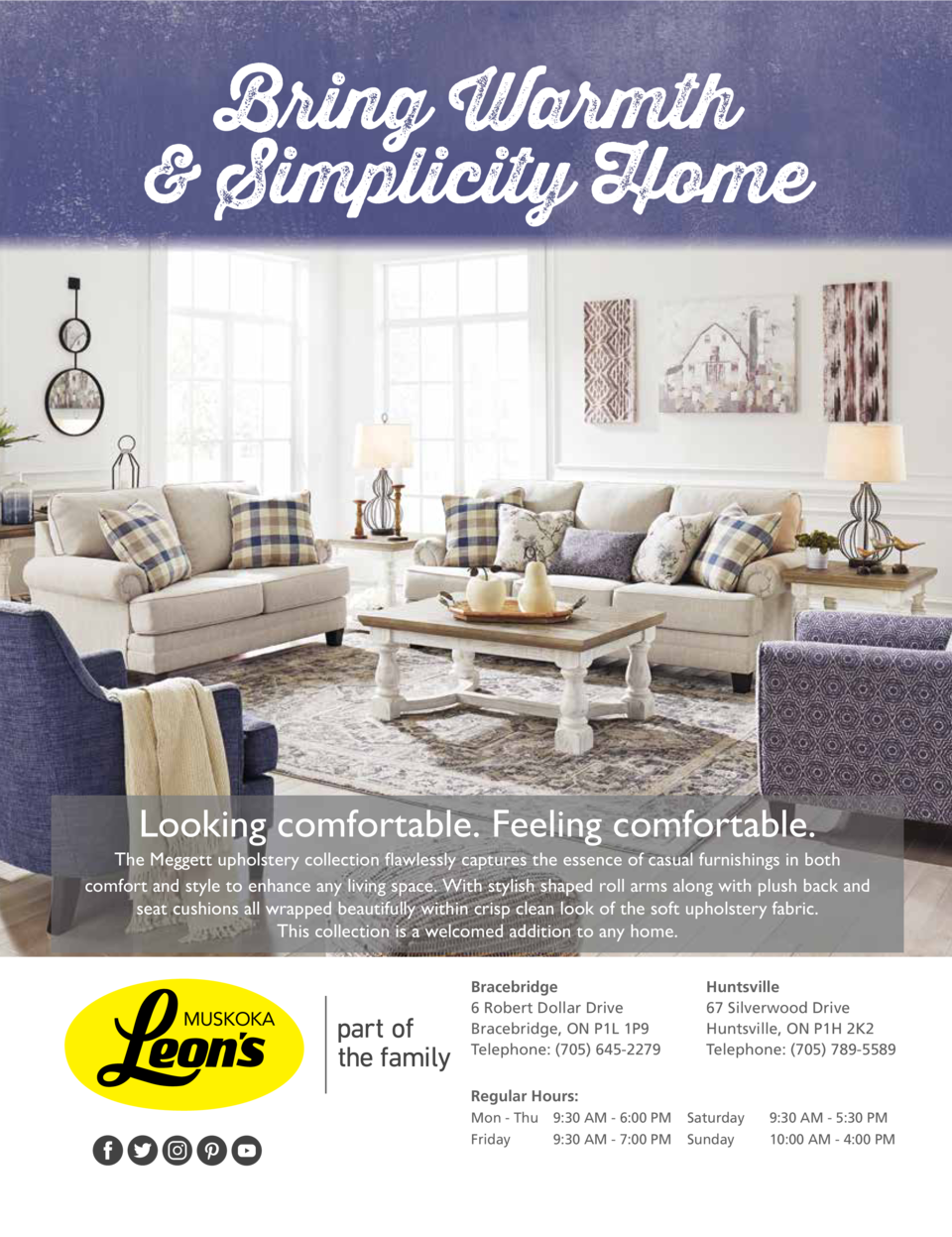 Bring Warmth   Simplicity Home  Looking comfortable. Feeling comfortable. The Meggett upholstery collection flawlessly cap...