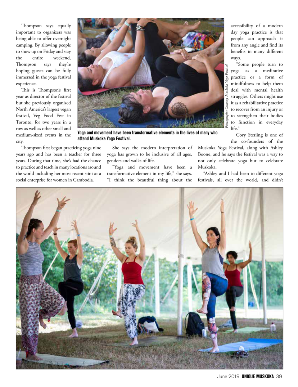 Photographs  Courtesy Muskoka Yoga Festival  Thompson says equally accessibility of a modern important to organizers was d...