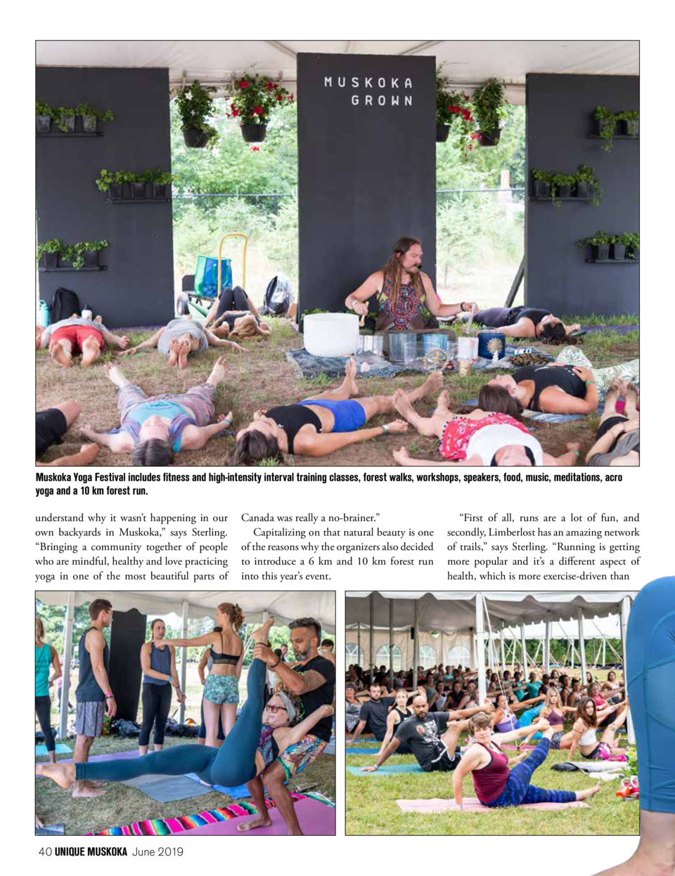 Muskoka Yoga Festival includes fitness and high-intensity interval training classes, forest walks, workshops, speakers, fo...