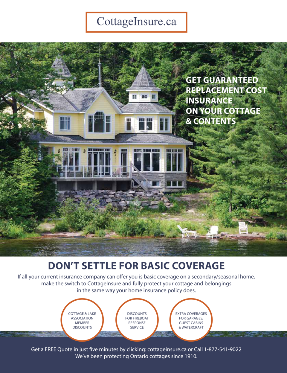 CottageInsure.ca  GET GUARANTEED REPLACEMENT COST INSURANCE ON YOUR COTTAGE   CONTENTS  DON   T SETTLE FOR BASIC COVERAGE ...