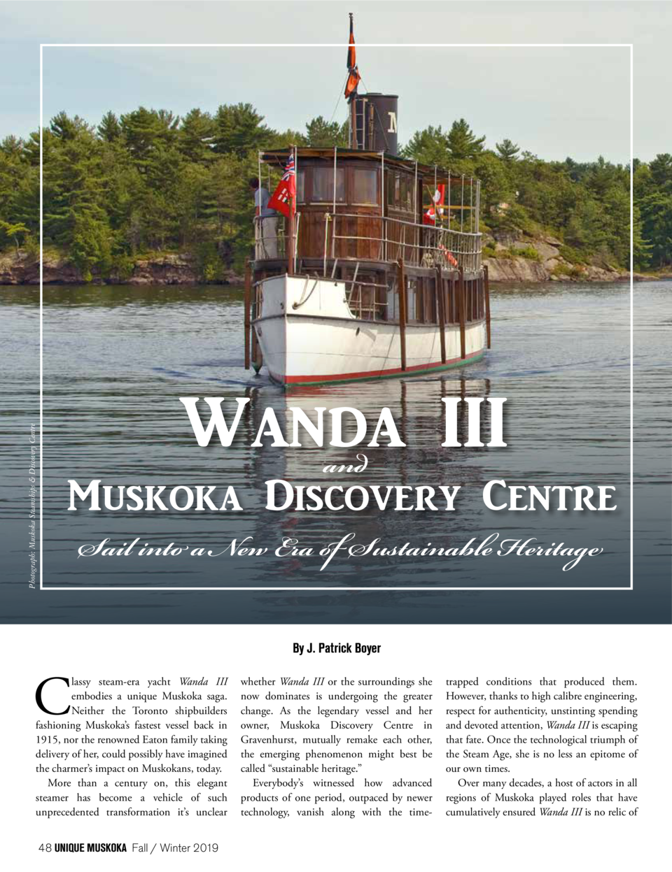 Photograph  Muskoka Steamships   Discovery Centre  Wanda III and  Muskoka Discovery Centre Sail into a New Era of Sustaina...