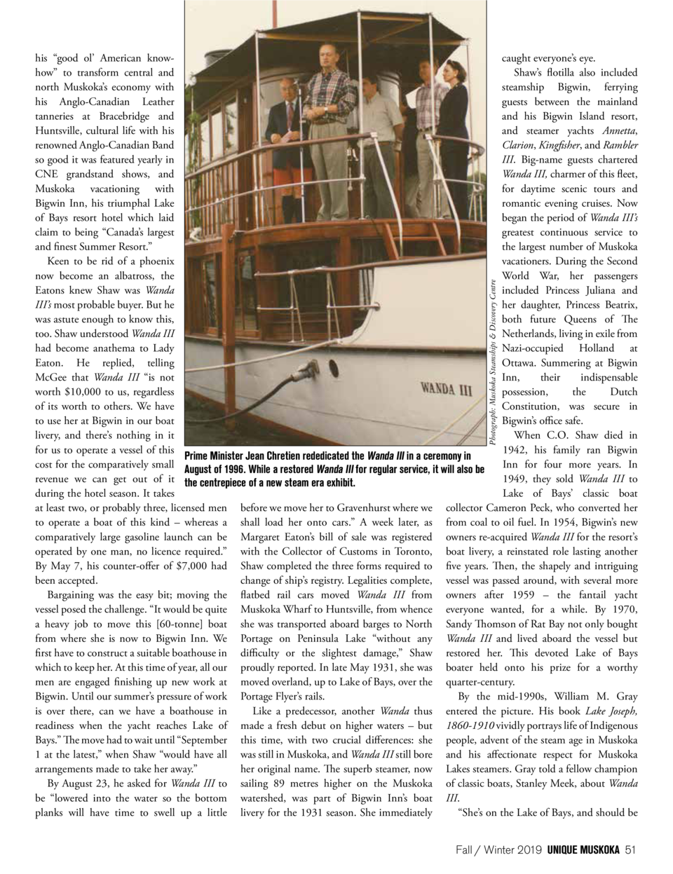 Photograph  Muskoka Steamships   Discovery Centre  caught everyone   s eye. his    good ol    American knowShaw   s flotil...