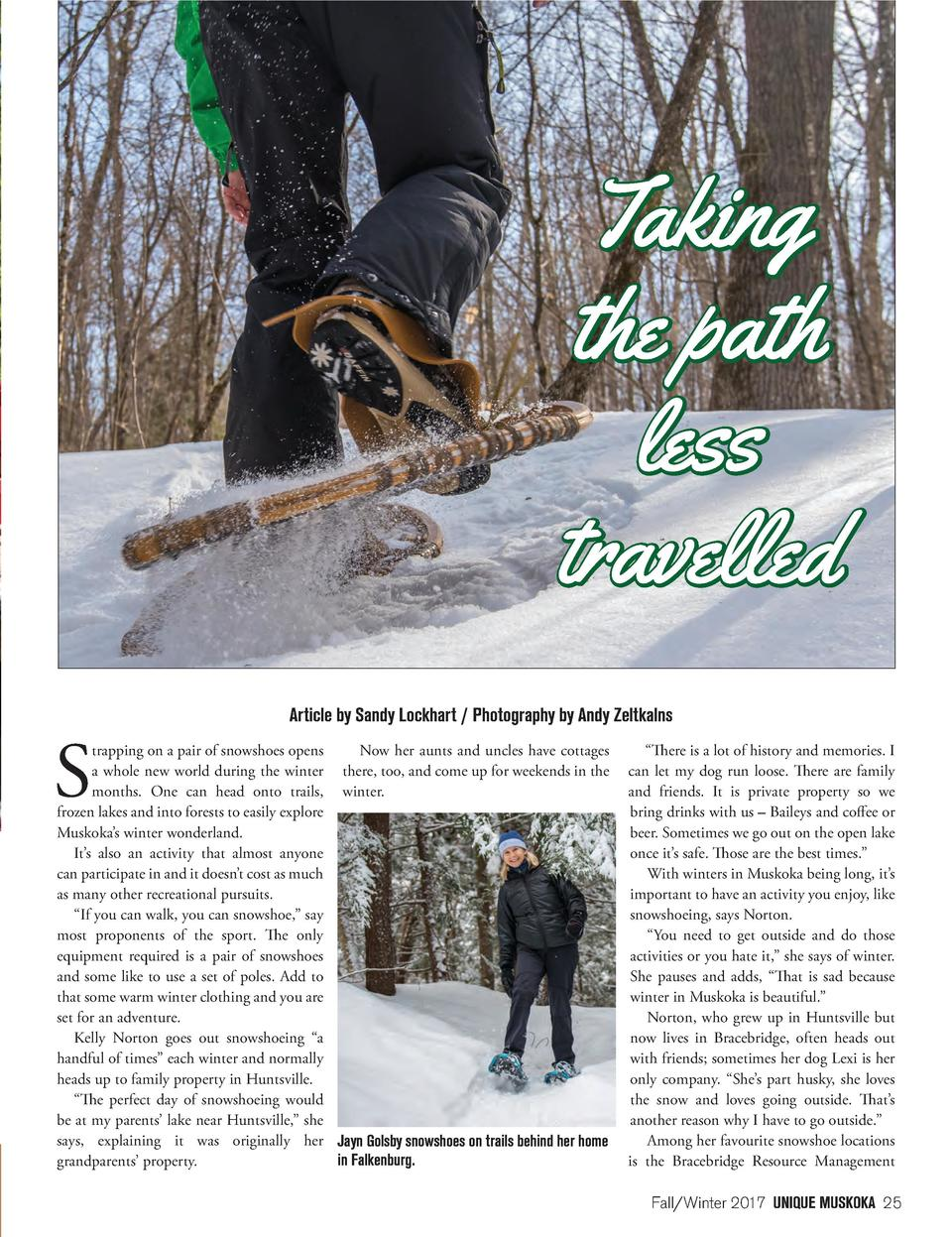 S  Article by Sandy Lockhart   Photography by Andy Zeltkalns  trapping on a pair of snowshoes opens Now her aunts and uncl...