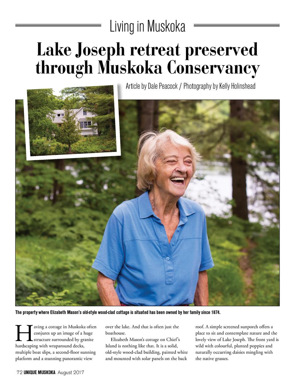 Living in Muskoka  Lake Joseph retreat preserved through Muskoka Conservancy Article by Dale Peacock   Photography by Kell...