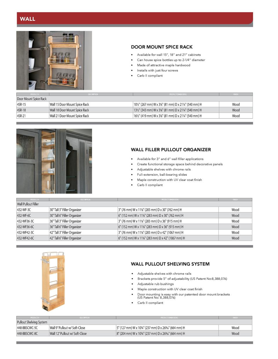 WALL  DOOR MOUNT SPICE RACK  PRODUCT          Available for wall 15   , 18    and 21    cabinets        Can house spice bo...