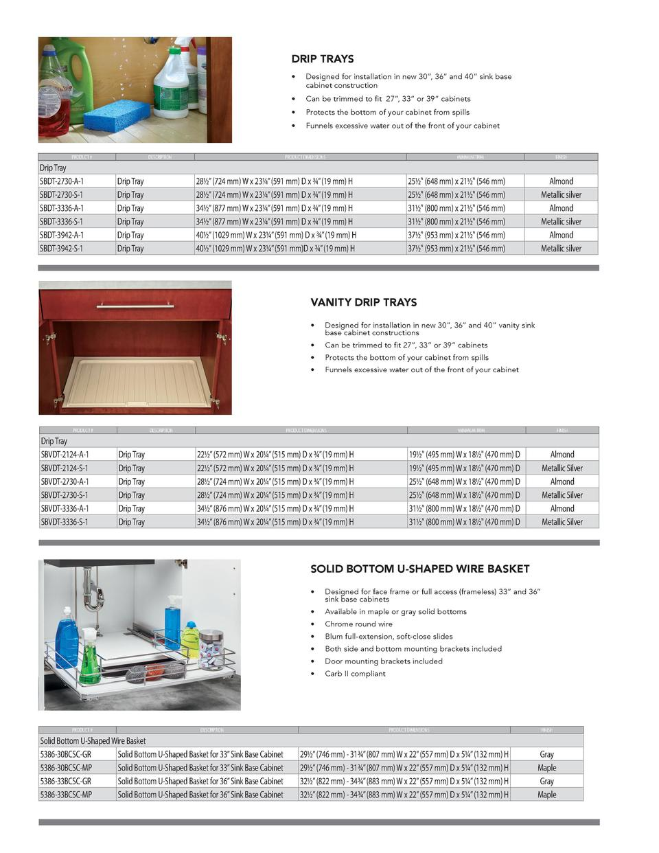 DRIP TRAYS  PRODUCT    Drip Tray SBDT-2730-A-1 SBDT-2730-S-1 SBDT-3336-A-1 SBDT-3336-S-1 SBDT-3942-A-1 SBDT-3942-S-1  DESC...