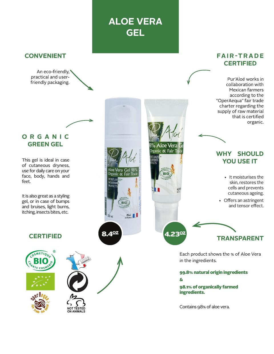 ALOE VERA GEL CONVENIENT  FA I R - T R A D E CERTIFIED  An eco-friendly, practical and userfriendly packaging.  Pur   Alo ...