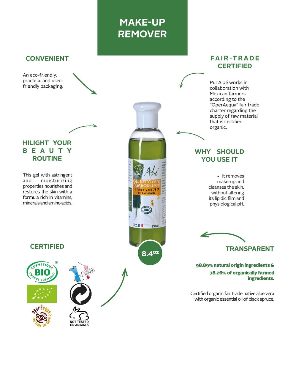 MAKE-UP REMOVER FA I R - T R A D E CERTIFIED  CONVENIENT An eco-friendly, practical and userfriendly packaging.  Pur   Alo...