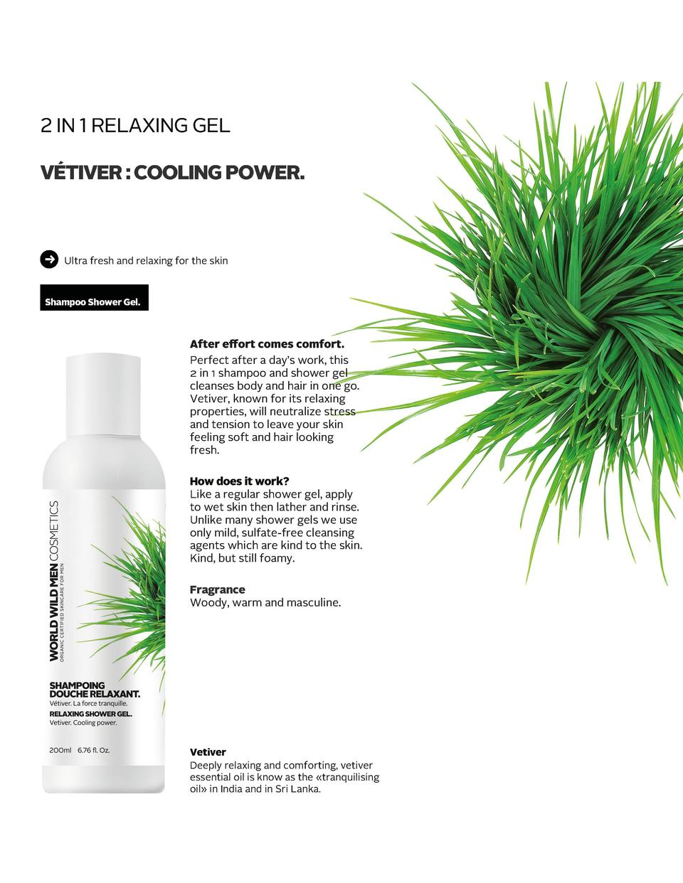 2 IN 1 RELAXING GEL       V  TIVER   COOLING POWER.  Ultra fresh and relaxing for the skin  Shampoo Shower Gel.  After eff...