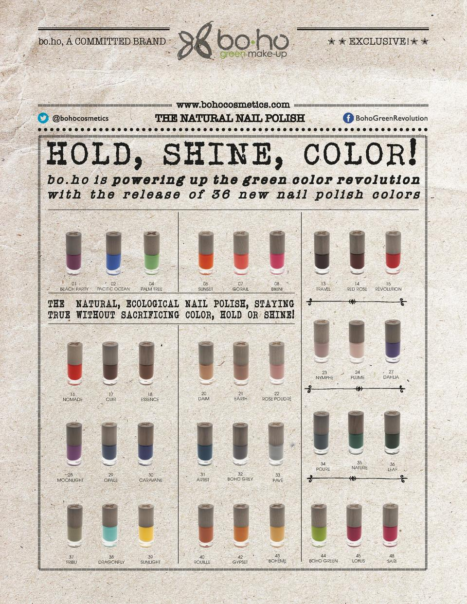 bo.ho, A COMMITTED BRAND          EXCLUSIVE          www.bohocosmetics.com  THE NATURAL NAIL POLISH  HOLD, SHINE, COLOR   ...