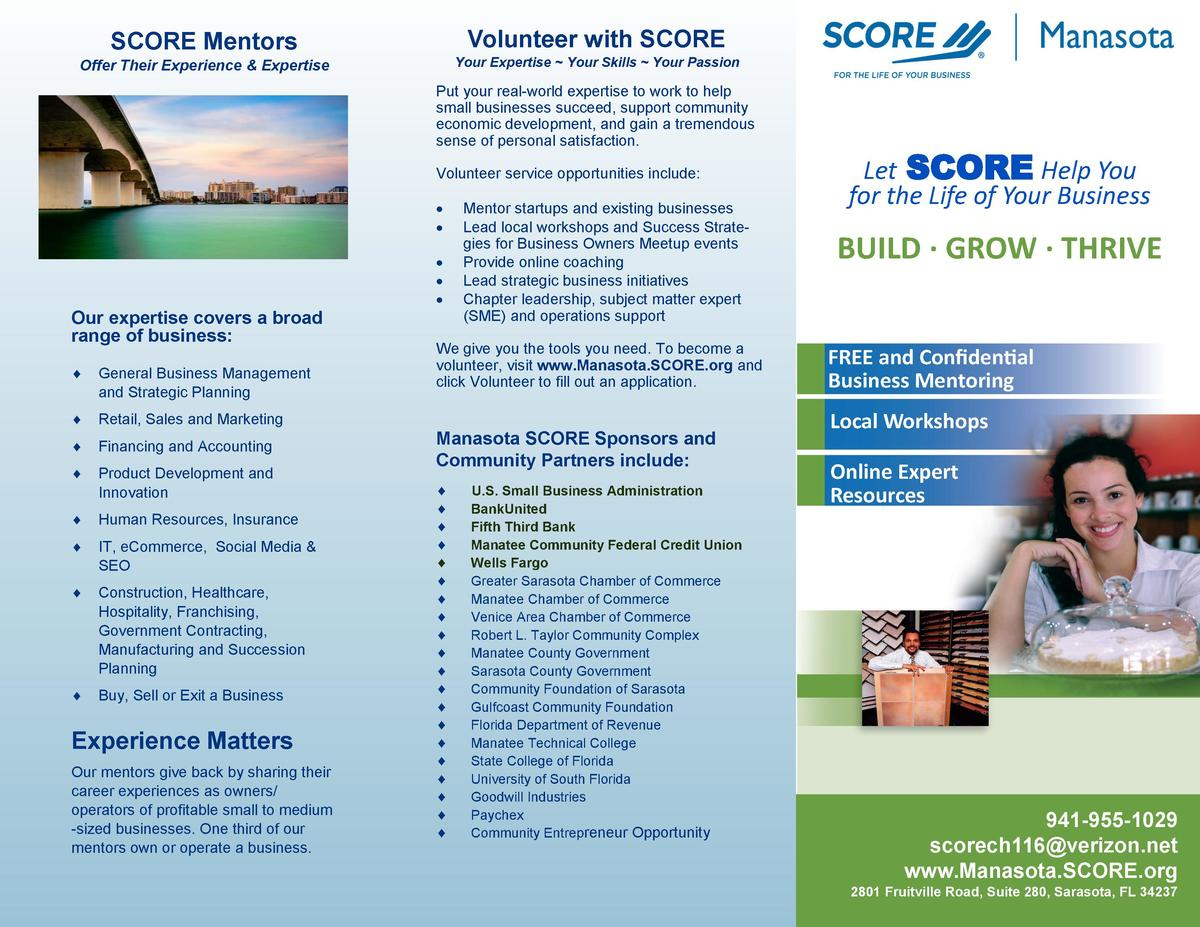 Volunteer with SCORE  SCORE Mentors  Your Expertise   Your Skills   Your Passion  Offer Their Experience   Expertise  Put ...