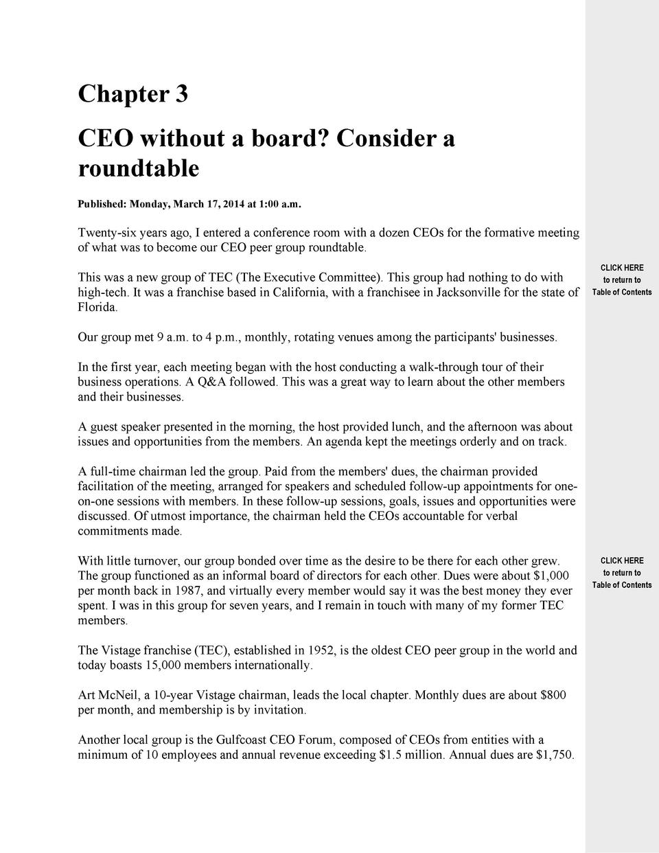 Chapter 3 CEO without a board  Consider a roundtable Published  Monday, March 17, 2014 at 1 00 a.m.  Twenty-six years ago,...