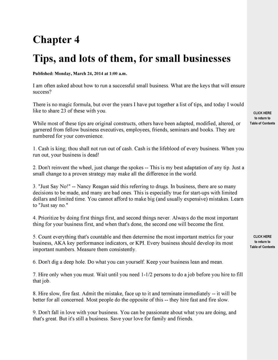 Chapter 4 Tips, and lots of them, for small businesses Published  Monday, March 24, 2014 at 1 00 a.m.  I am often asked ab...