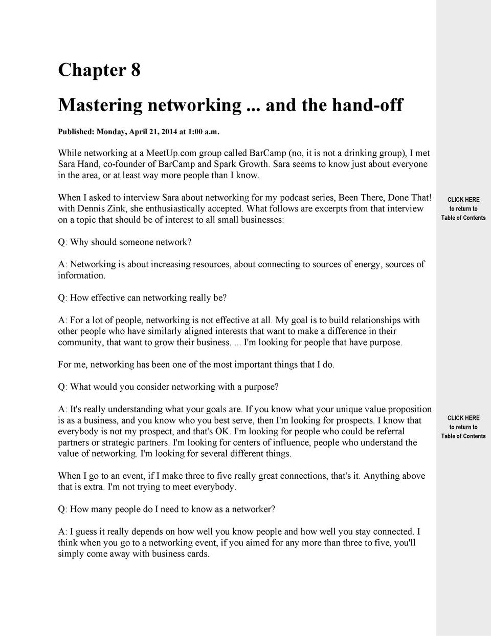 Chapter 8 Mastering networking ... and the hand-off Published  Monday, April 21, 2014 at 1 00 a.m.  While networking at a ...