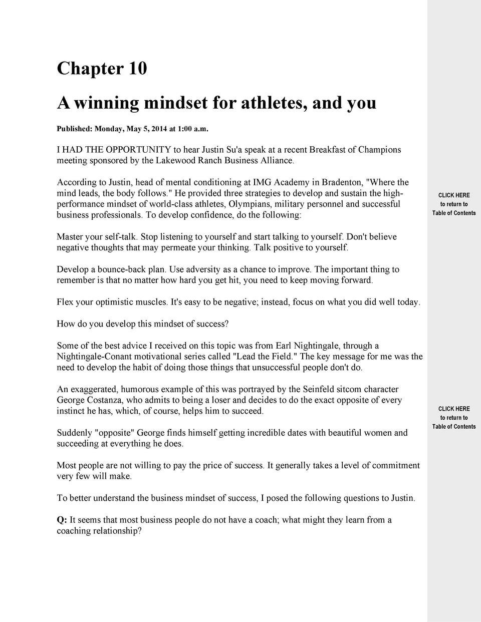 Chapter 10 A winning mindset for athletes, and you Published  Monday, May 5, 2014 at 1 00 a.m.  I HAD THE OPPORTUNITY to h...