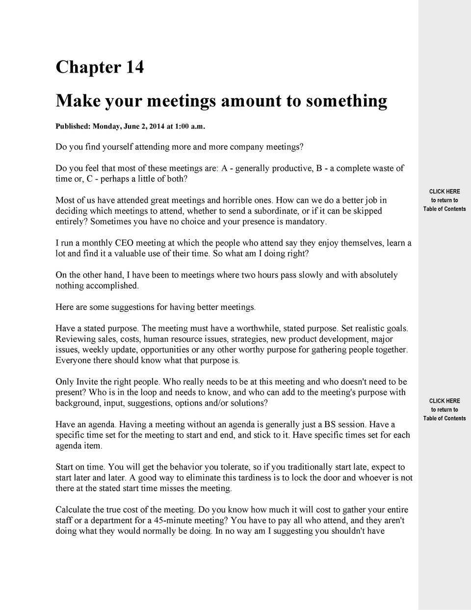 Chapter 14 Make your meetings amount to something Published  Monday, June 2, 2014 at 1 00 a.m.  Do you find yourself atten...