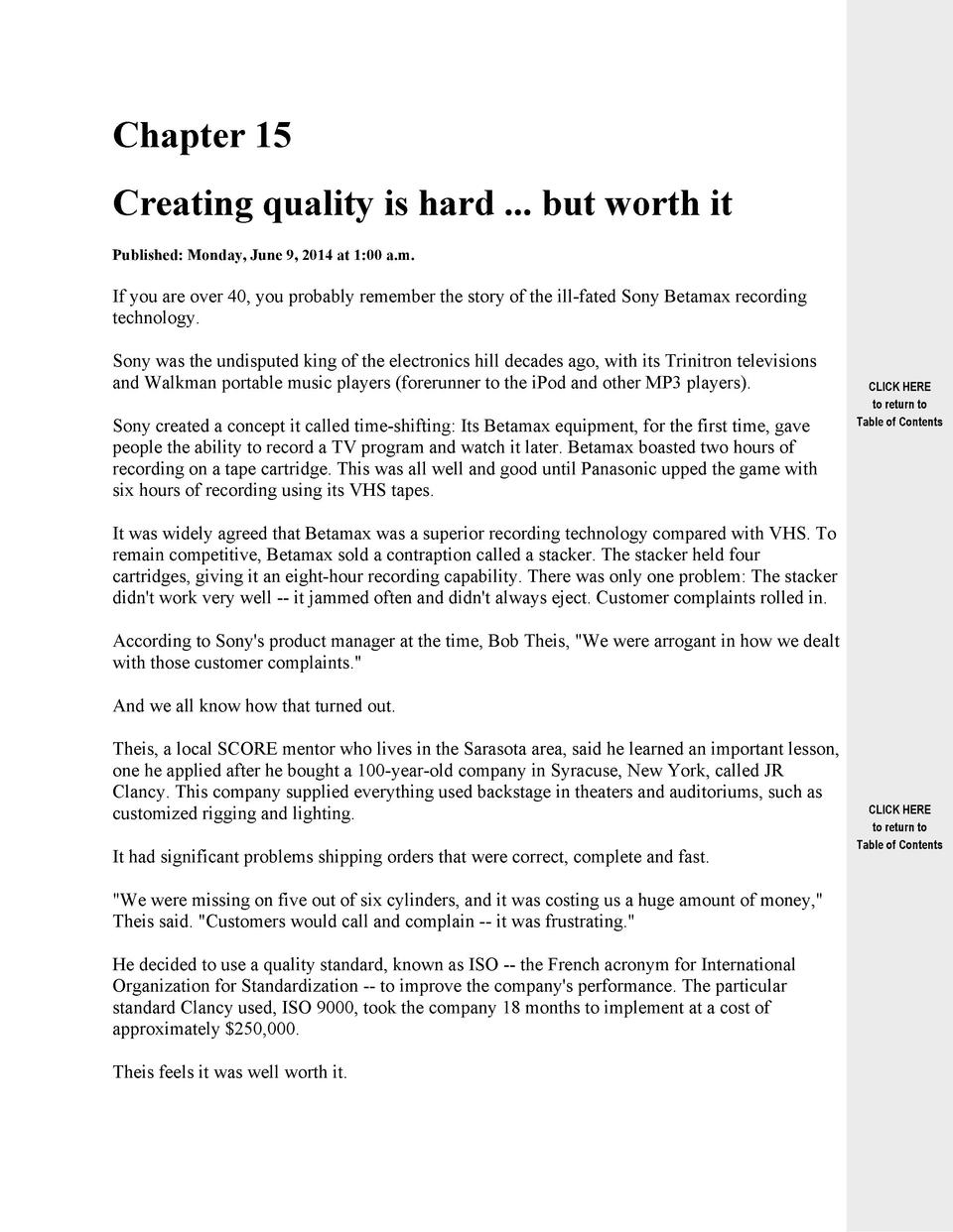 Chapter 15 Creating quality is hard ... but worth it Published  Monday, June 9, 2014 at 1 00 a.m.  If you are over 40, you...