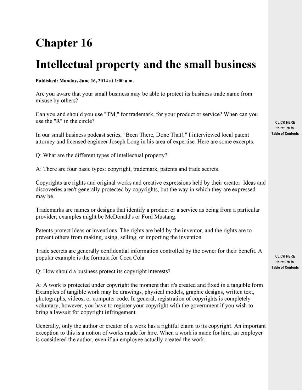 Chapter 16 Intellectual property and the small business Published  Monday, June 16, 2014 at 1 00 a.m.  Are you aware that ...