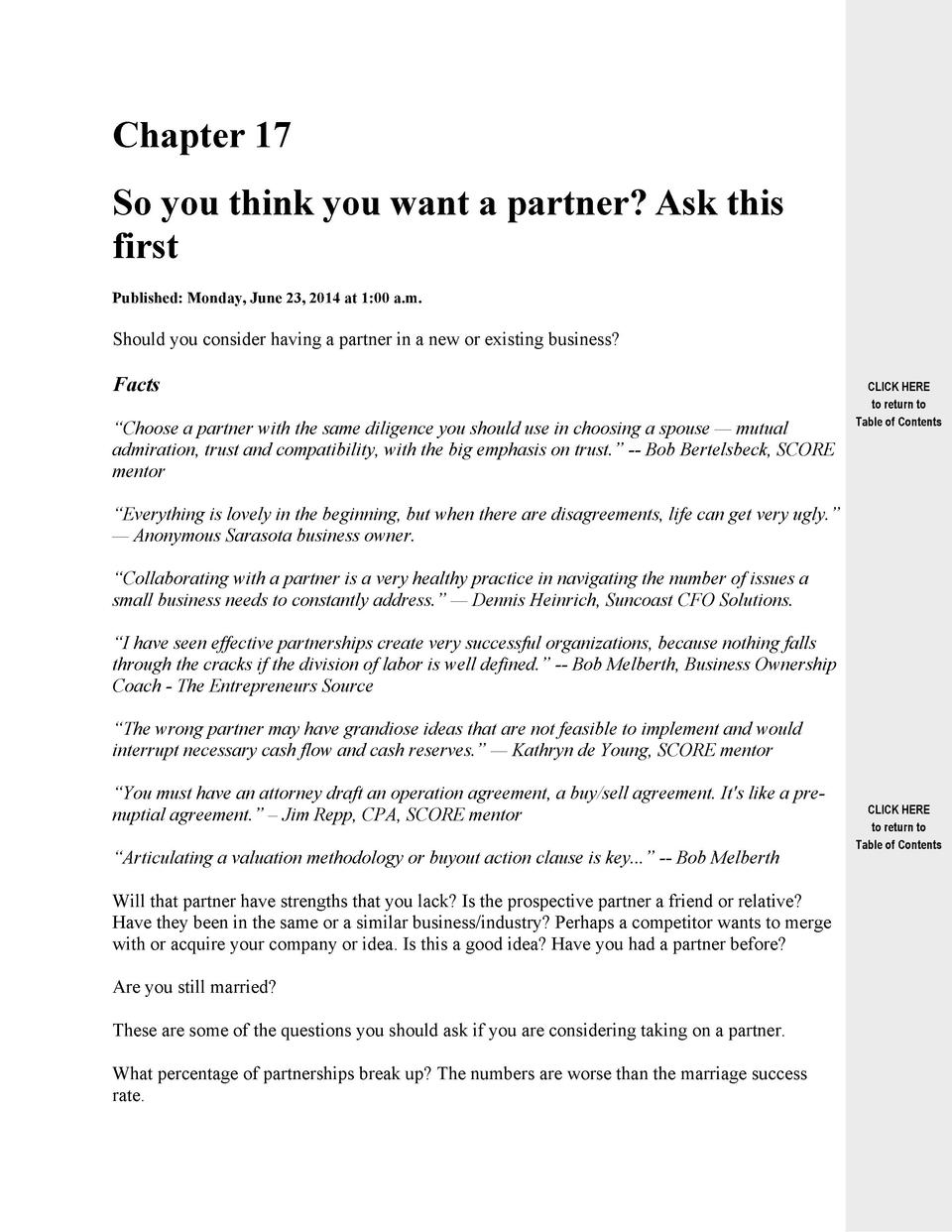 Chapter 17 So you think you want a partner  Ask this first Published  Monday, June 23, 2014 at 1 00 a.m.  Should you consi...