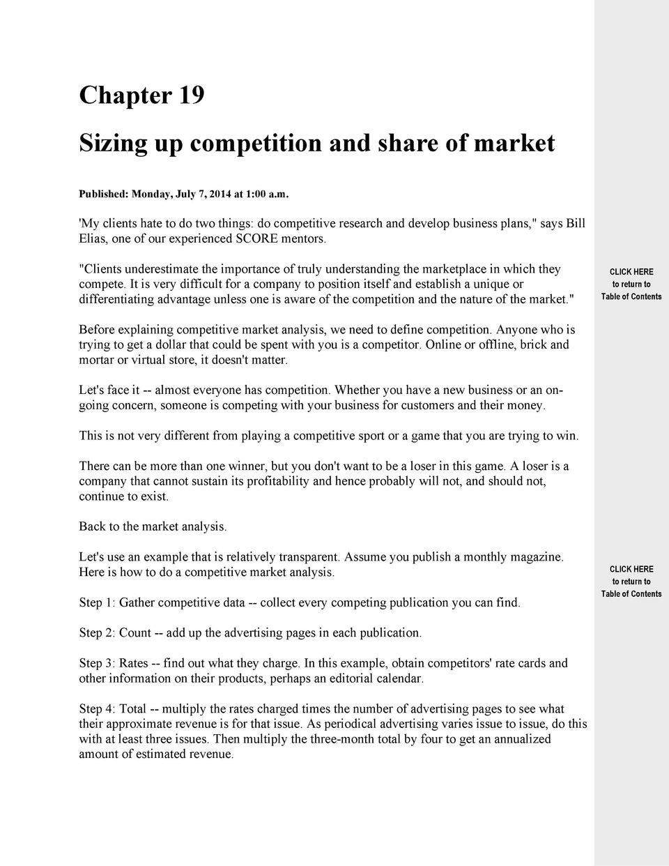 Chapter 19 Sizing up competition and share of market Published  Monday, July 7, 2014 at 1 00 a.m.   My clients hate to do ...