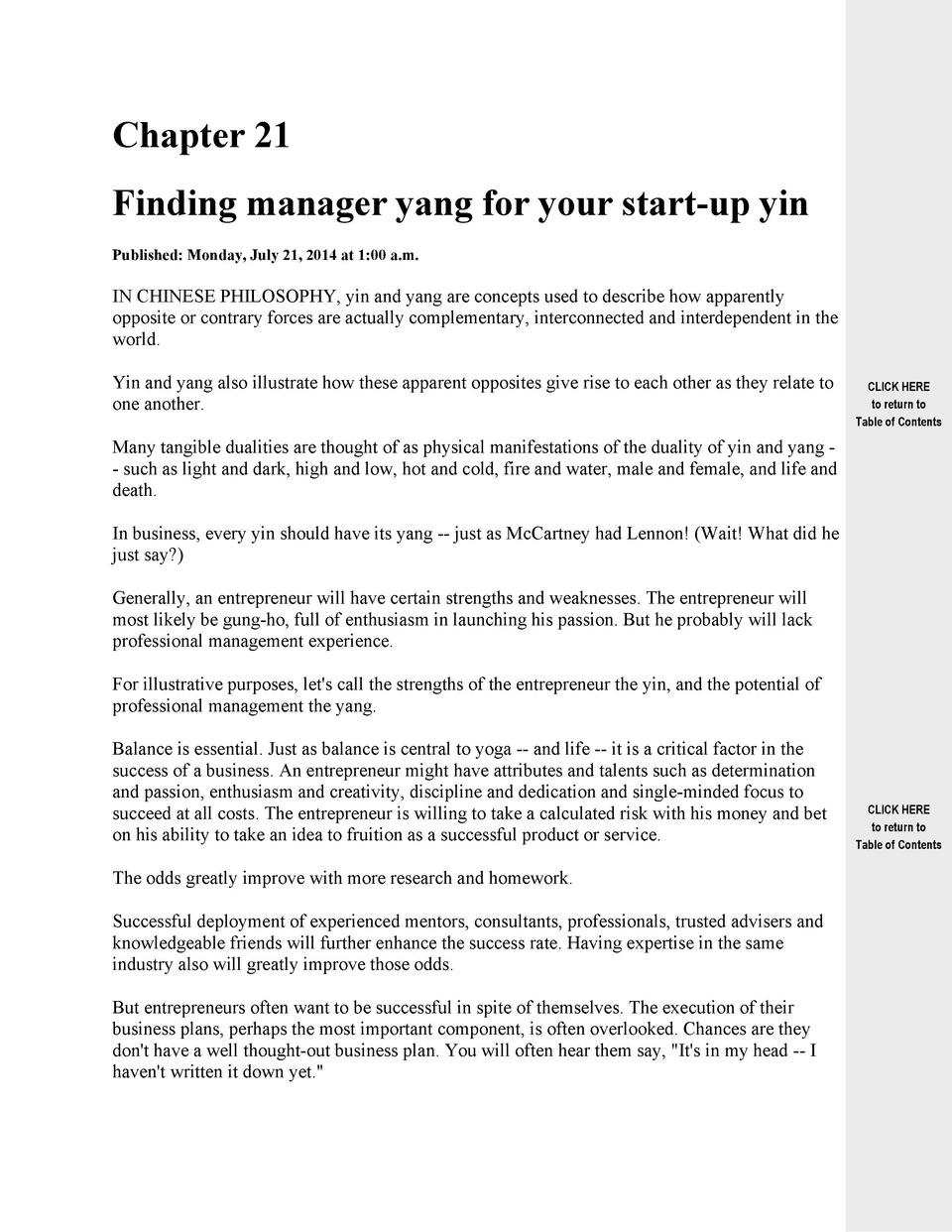 Chapter 21 Finding manager yang for your start-up yin Published  Monday, July 21, 2014 at 1 00 a.m.  IN CHINESE PHILOSOPHY...