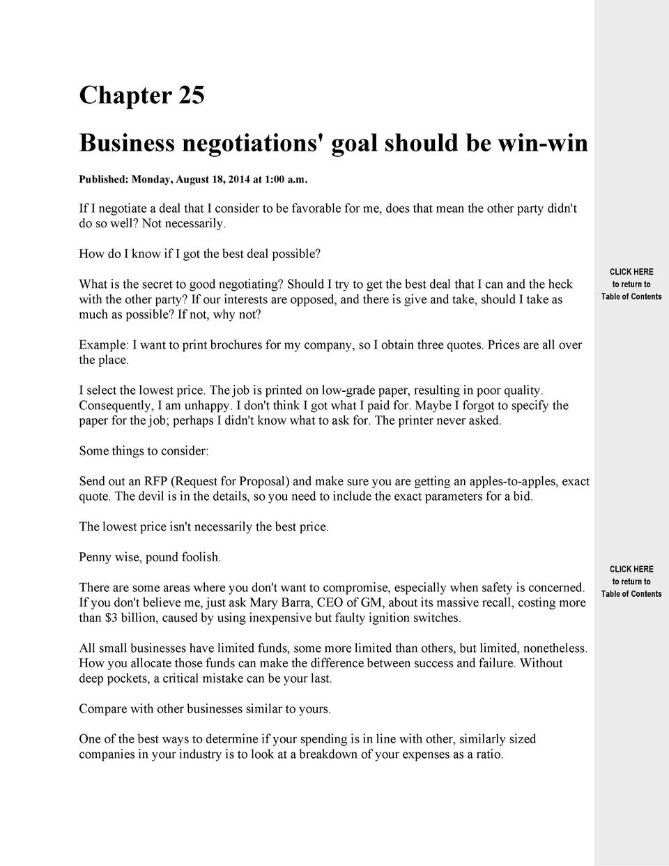 Chapter 25 Business negotiations  goal should be win-win Published  Monday, August 18, 2014 at 1 00 a.m.  If I negotiate a...