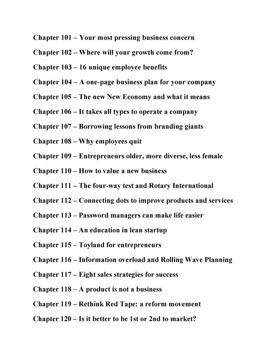 Chapter 101     Your most pressing business concern Chapter 102     Where will your growth come from  Chapter 103     16 u...