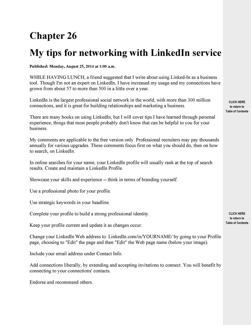Chapter 26 My tips for networking with LinkedIn service Published  Monday, August 25, 2014 at 1 00 a.m.  WHILE HAVING LUNC...