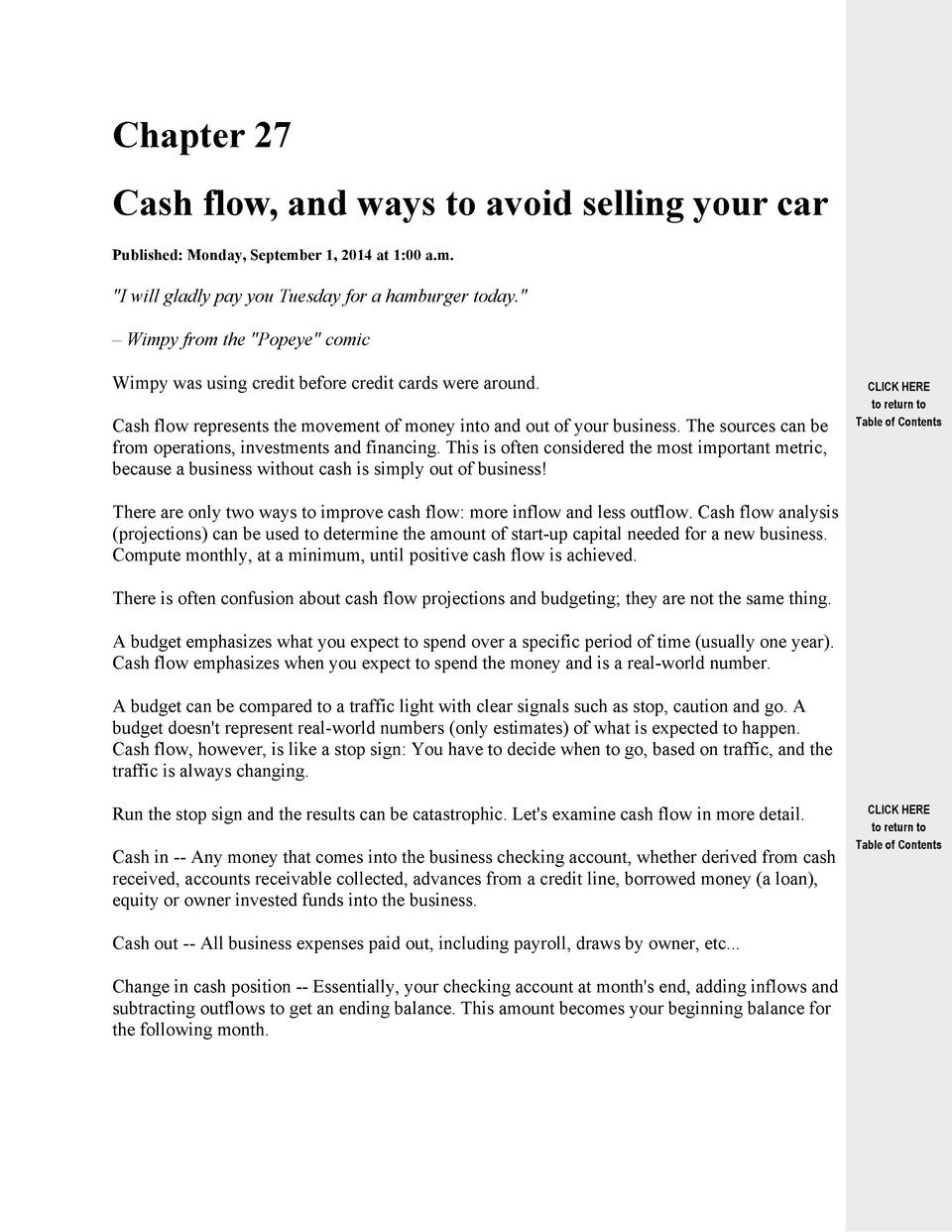Chapter 27 Cash flow, and ways to avoid selling your car Published  Monday, September 1, 2014 at 1 00 a.m.   I will gladly...