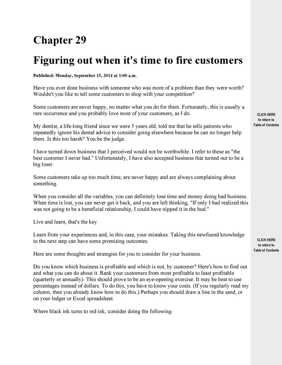 Chapter 29 Figuring out when it s time to fire customers Published  Monday, September 15, 2014 at 1 00 a.m.  Have you ever...