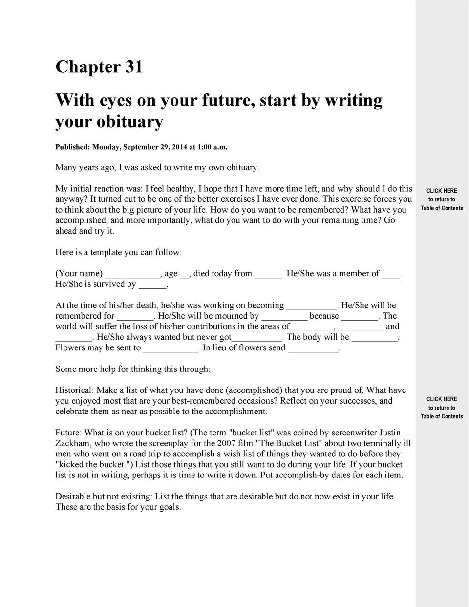 Chapter 31 With eyes on your future, start by writing your obituary Published  Monday, September 29, 2014 at 1 00 a.m.  Ma...