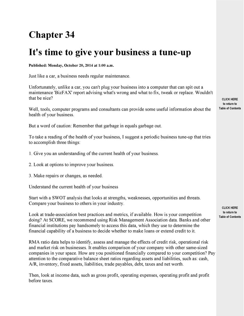 Chapter 34 It s time to give your business a tune-up Published  Monday, October 20, 2014 at 1 00 a.m.  Just like a car, a ...