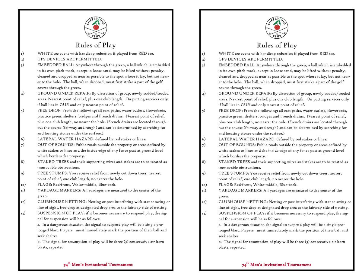 Rules of Play 1  2  3   4   5   6  7   8  9  10  11  12  13   WHITE tee event with handicap reduction if played from RED t...