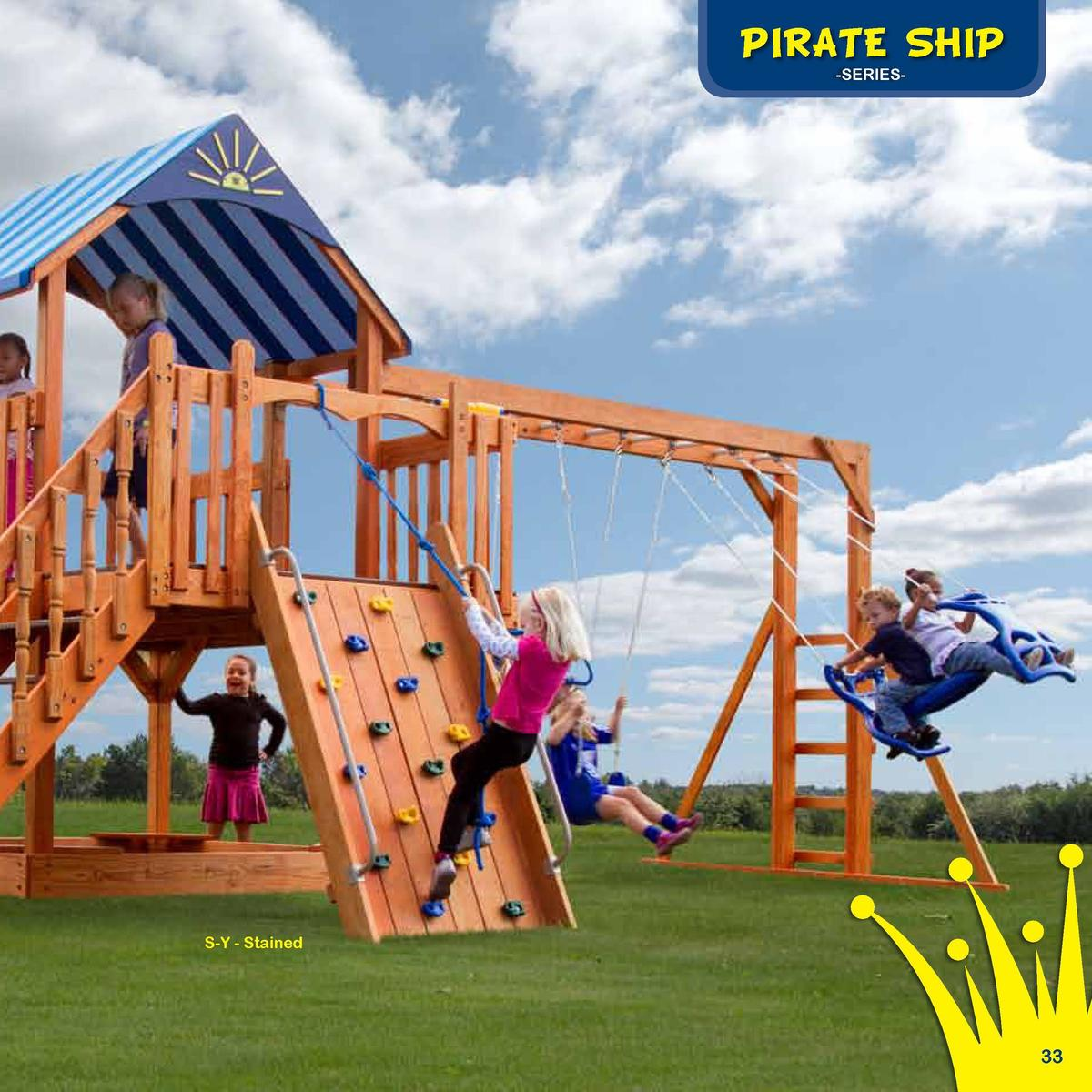 Play Deck Roofing Choices  PIRATE SHIP  The Sea King  -SERIESFabric  Plastic  Clap Board  Border Needed   98   Rubber Mulc...