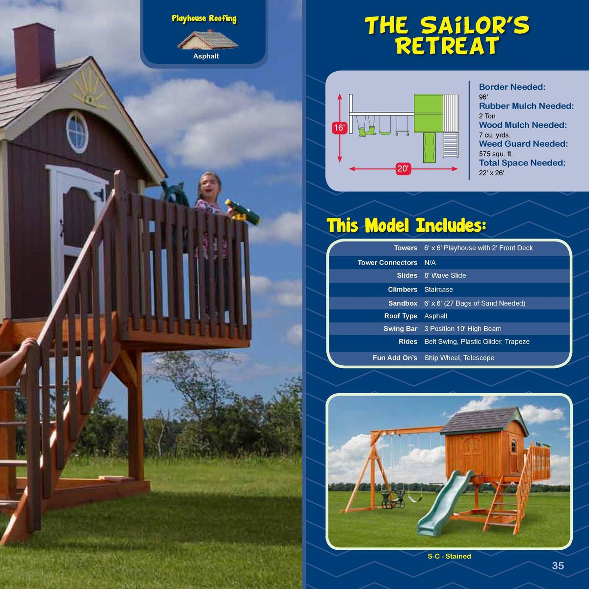 Playhouse Roofing  PIRATE SHIP  The Sailor   s Retreat  -SERIESAsphalt  Border Needed   Space Needed 96  Rubber Mulch Need...
