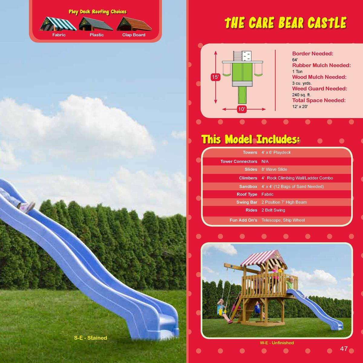 TEDDY BEAR SERIES  Play Deck Roofing Choices  The Care Bear Castle  -SERIES-  Fabric  Plastic  Clap Board  Border Needed  ...
