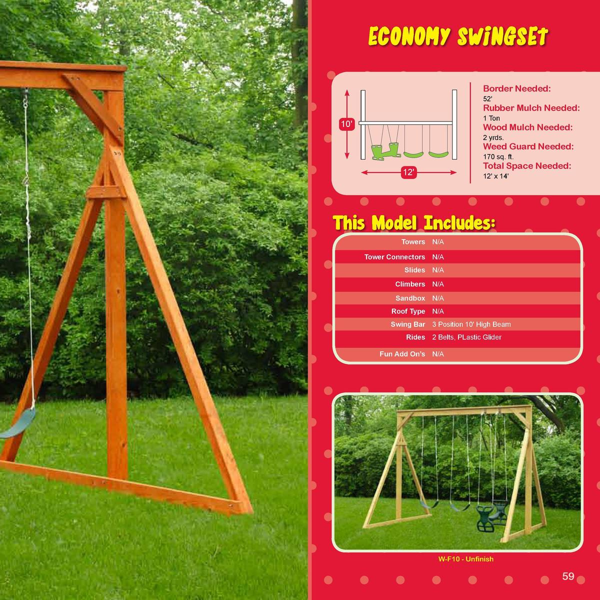 TEDDY BEAR SERIES  ECONOMY SWINGSET  -SERIES-  Border Needed   52 Space Needed Rubber Mulch Needed   1 Ton  10   Wood Mulc...