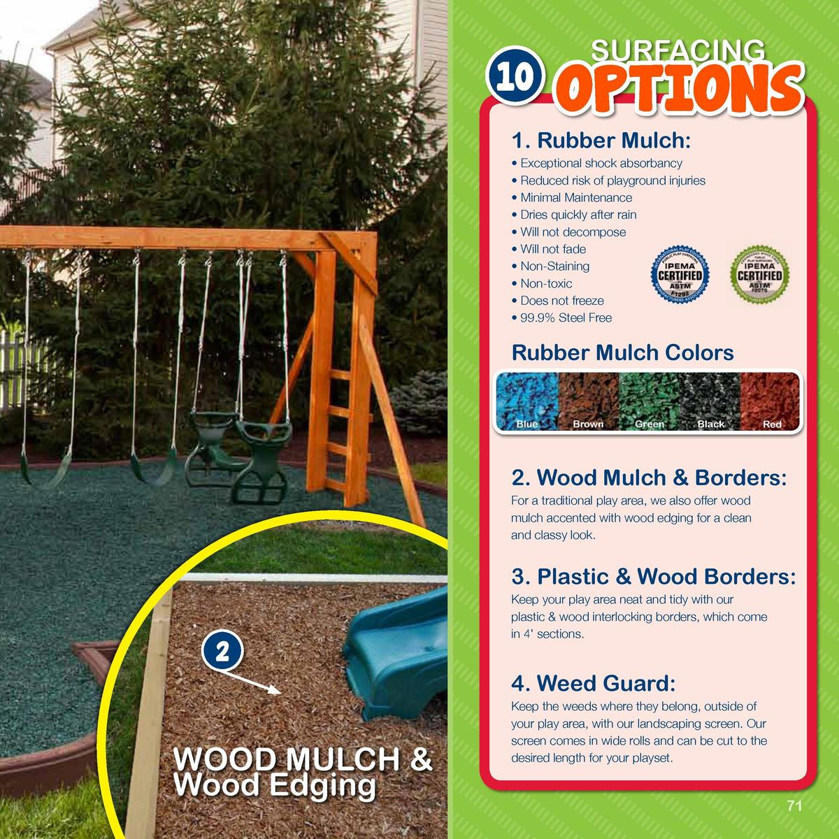Mulch, Edging   Weed Guard  10  SURFACING  OPTIONS  1. Rubber Mulch       Exceptional shock absorbancy     Reduced risk of...