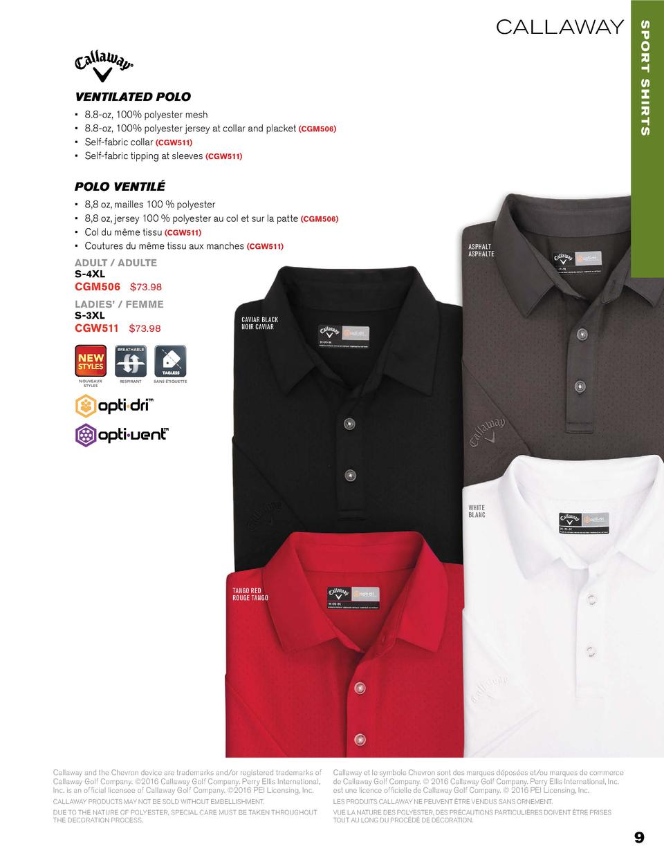 VENTILATED POLO                      8.8-oz, 100  polyester mesh 8.8-oz, 100  polyester jersey at collar and placket  CGM5...