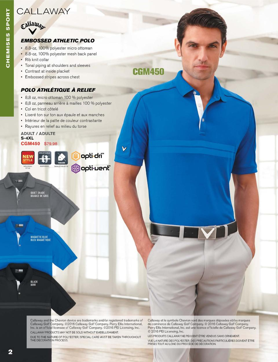CHEMISES sport  callaway  EMBOSSED ATHLETIC POLO                                8.8-oz, 100  polyester micro ottoman 8.8-o...