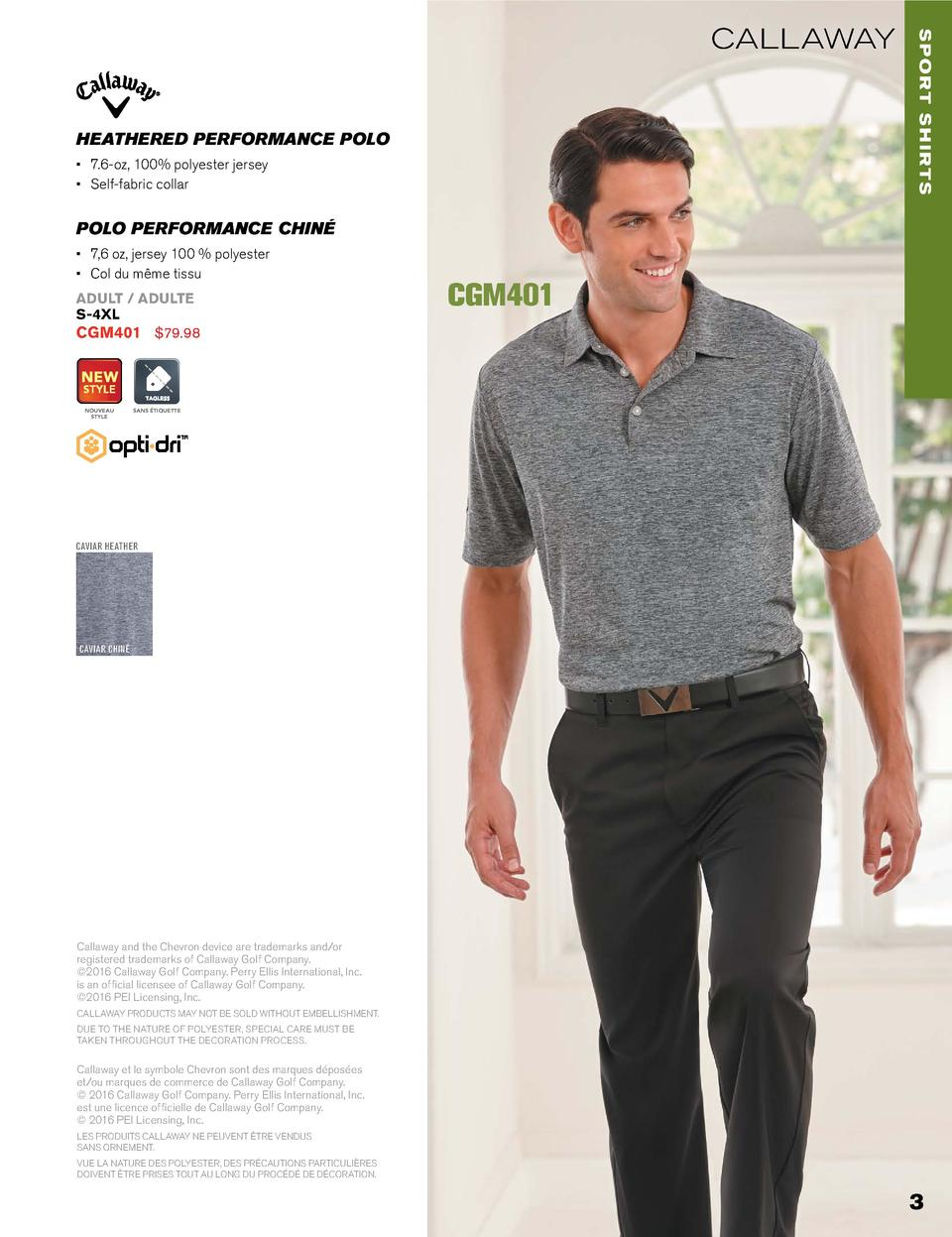 HEATHERED PERFORMANCE POLO      7.6-oz, 100  polyester jersey      Self-fabric collar  sport shirts  callaway  POLO PERFOR...