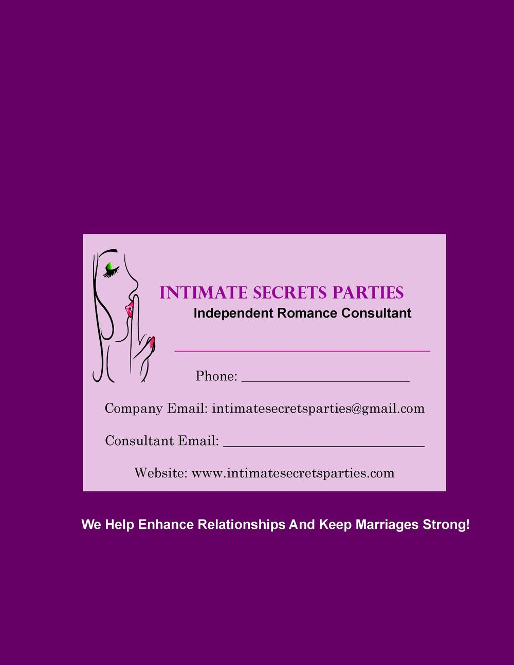 INTIMATE SECRETS PARTIES Independent Romance Consultant ______________________________________ Phone  ____________________...