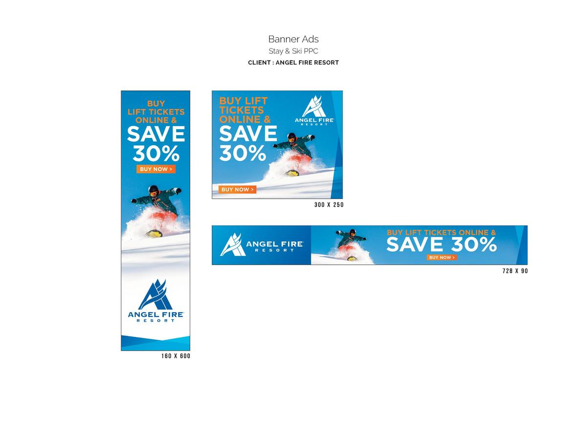 Banner Ads Stay   Ski PPC CLIENT   ANGEL FIRE RESORT  300 X 250  728 X 90  160 X 600