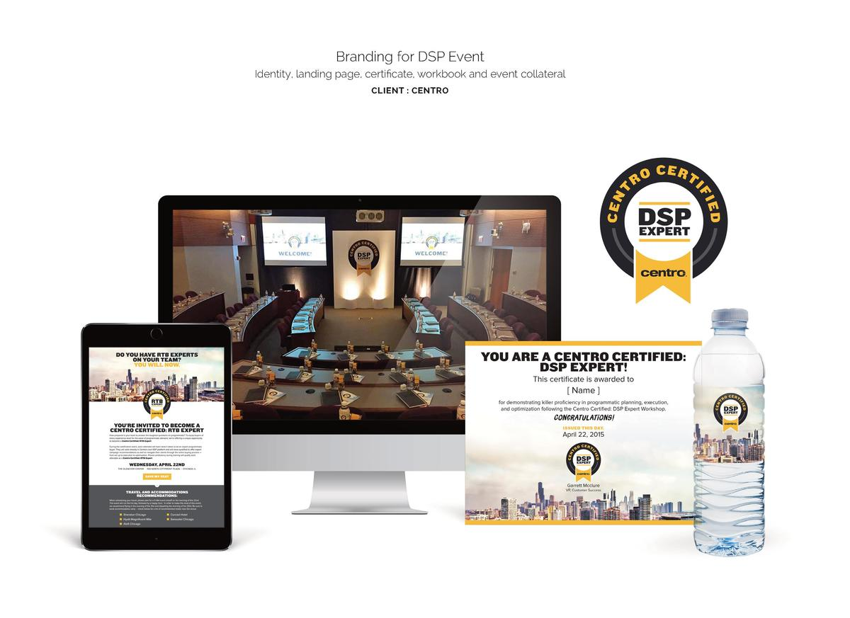 Branding for DSP Event Identity, landing page, certificate, workbook and event collateral CLIENT   CENTRO