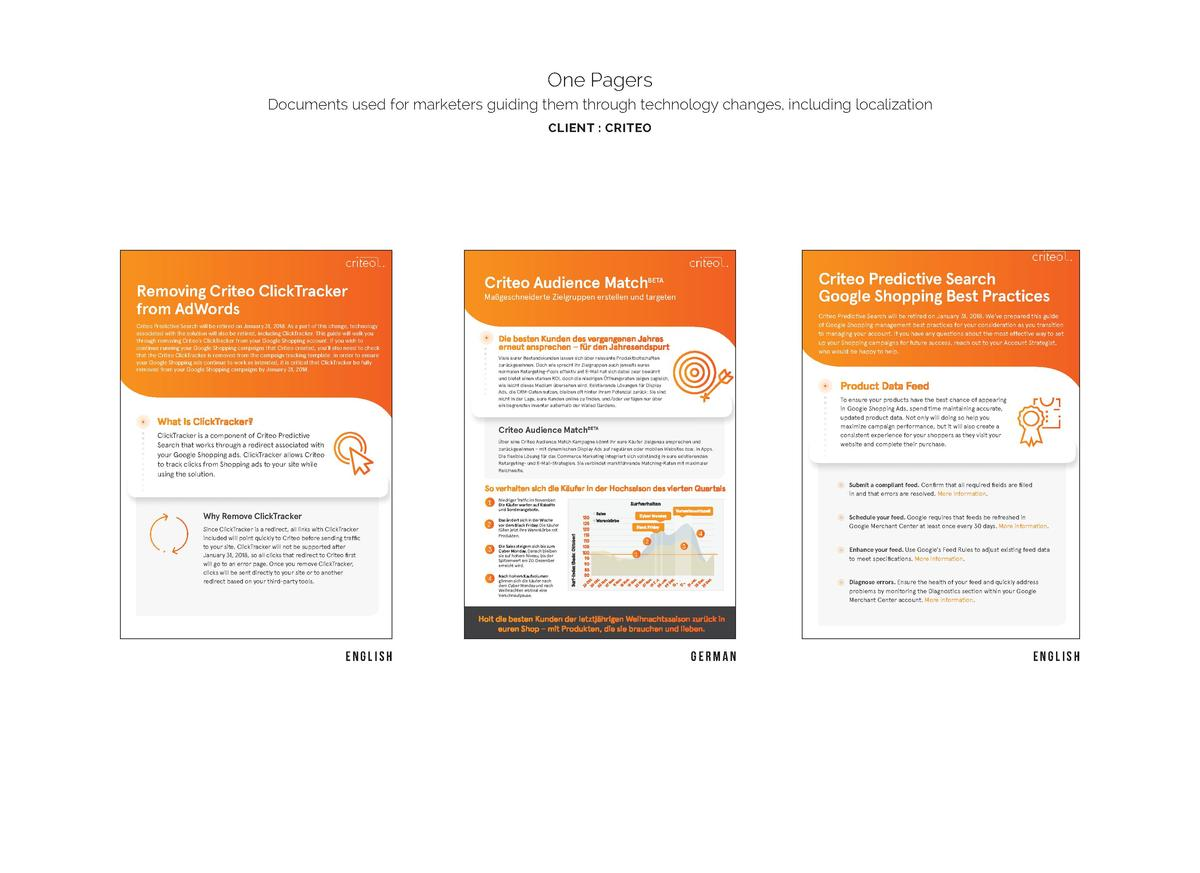 One Pagers Documents used for marketers guiding them through technology changes, including localization CLIENT   CRITEO  R...