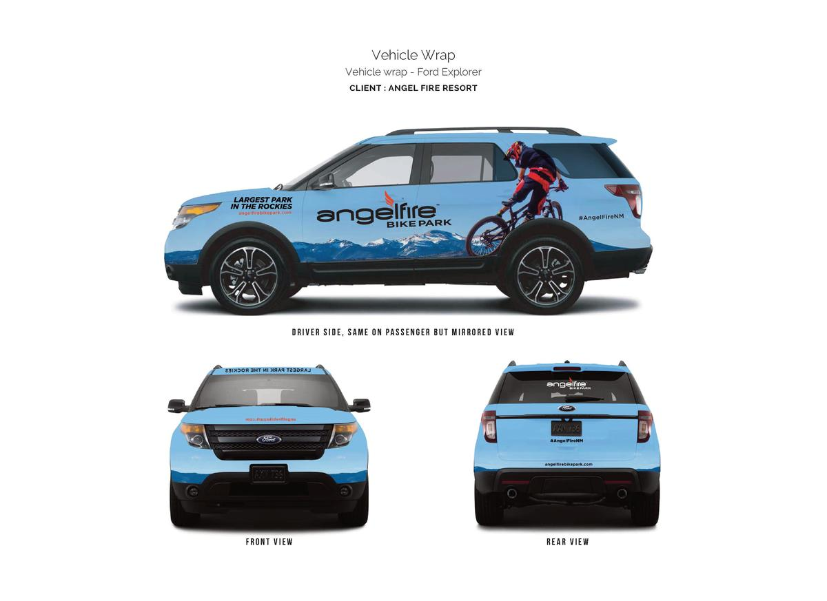 Vehicle Wrap Vehicle wrap - Ford Explorer CLIENT   ANGEL FIRE RESORT  driver side, SAME ON PASSENGER BUT MIRRORED VIEW  fr...