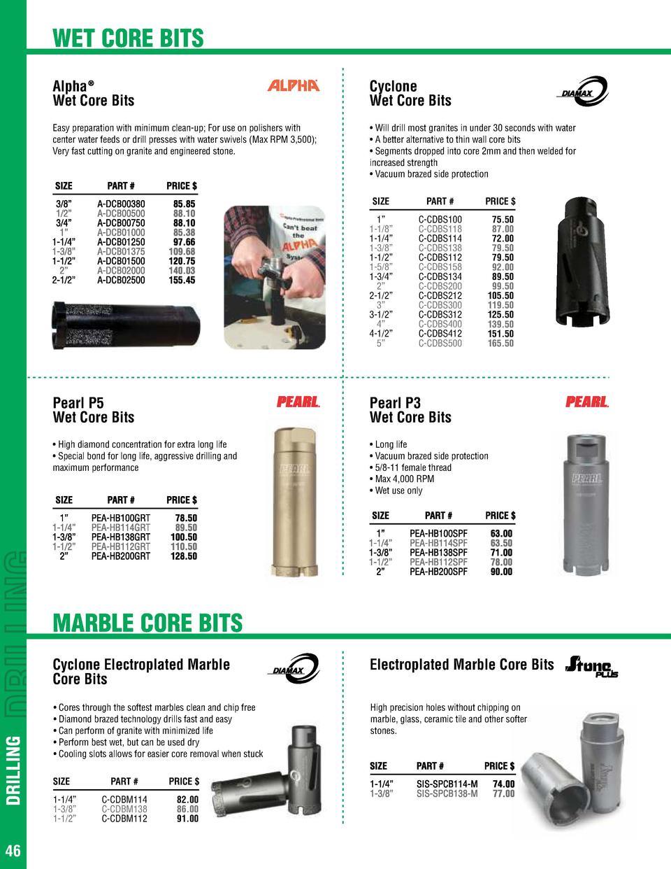 Nano HS Dry Stone Core Bit 1 1//4 Inch