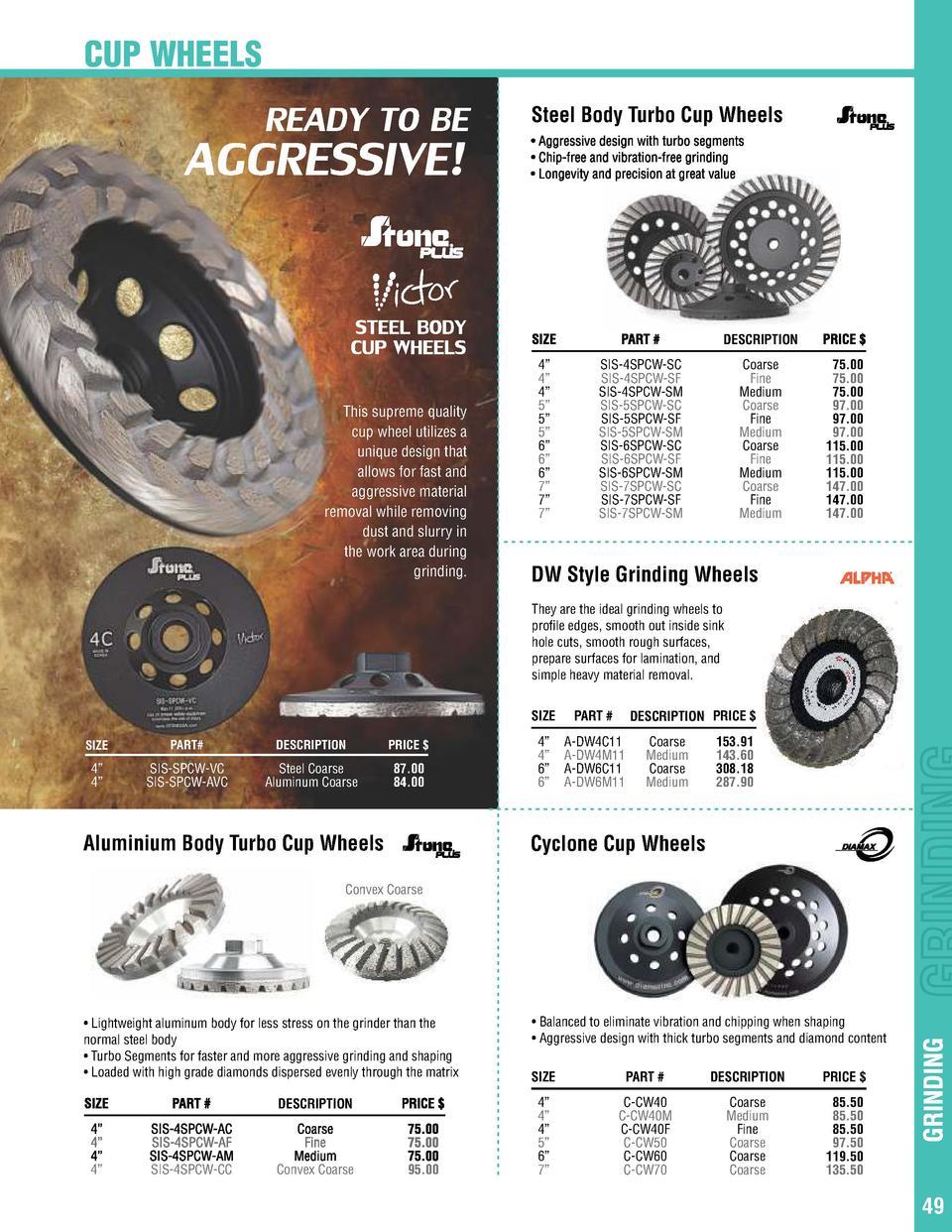 "4-1//2/"" Turbo Diamond Blade for Concrete Granite 50//60 Diamond Grit Cup Wheel 046"