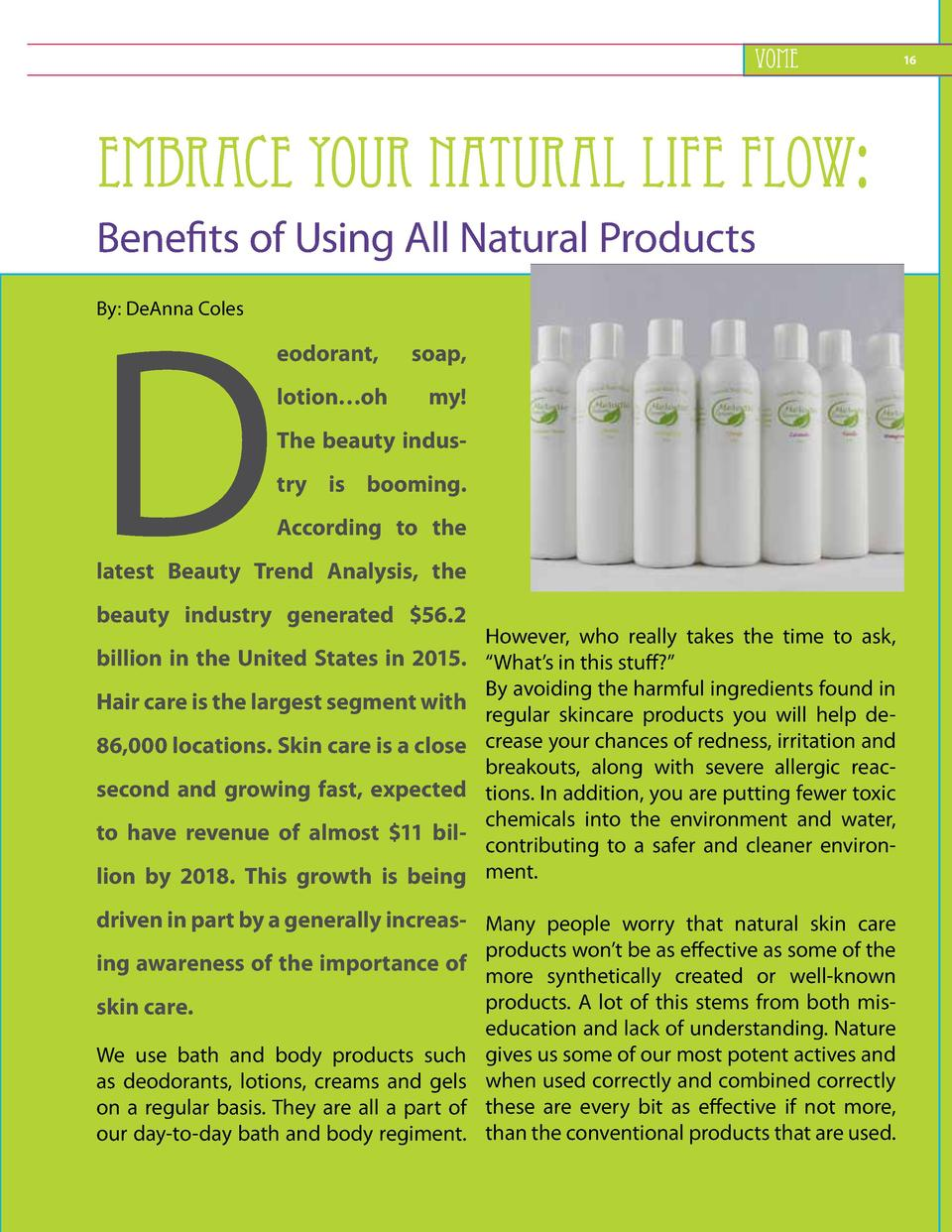 VOME  16     Embrace Your Natural Life Flow Benefits of Using All Natural Products  D By  DeAnna Coles  eodorant, lotion  ...