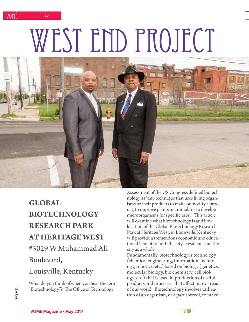 VOM    30  WEST END PROJECT  VOME     GLOBAL BIOTECHNOLOGY RESEARCH PARK AT HERITAGE WEST  3029 W Muhammad Ali Boulevard, ...